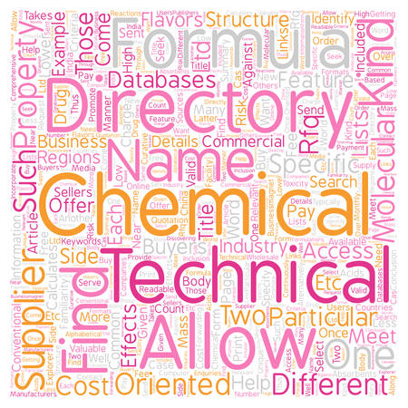 familiarity: Chemical Directory Can Come in Two Flavors text background wordcloud concept Illustration