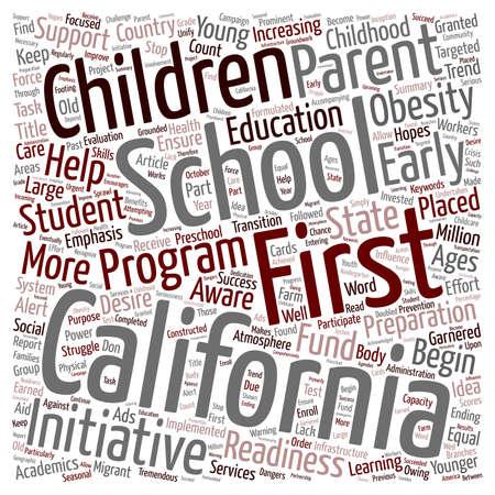 California Schools text background wordcloud concept Illustration
