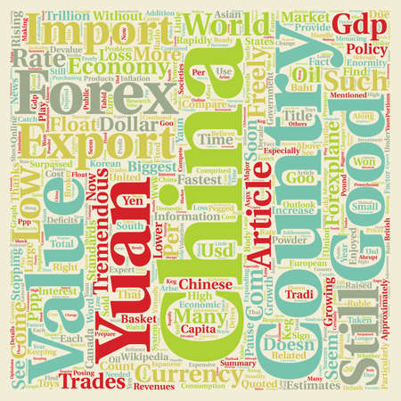 Chinese Yaun The Powder Keg Currency text background wordcloud concept