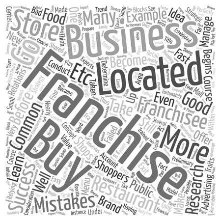 relying: Buyer Beware Common Mistakes Failed Franchisees Make text background wordcloud concept