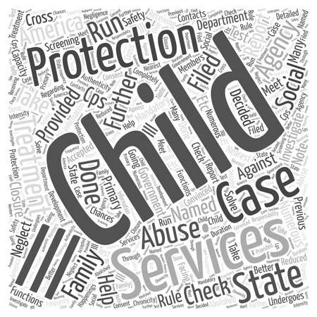 named person: Child Protection Services Word Cloud Concept Illustration