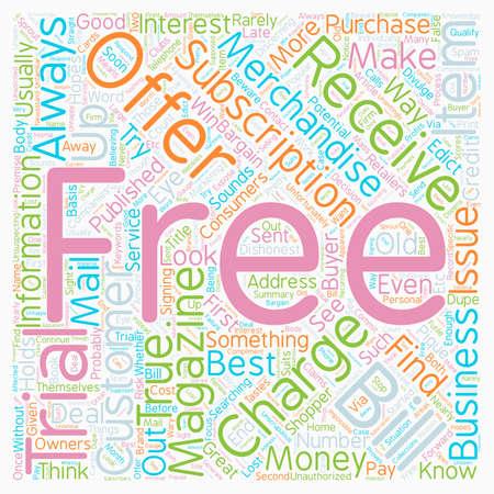Buyer Beware Free Magazine Trials text background wordcloud concept