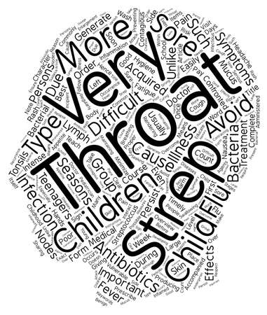 aching: Childhood Strep Throat Overview text background wordcloud concept Illustration