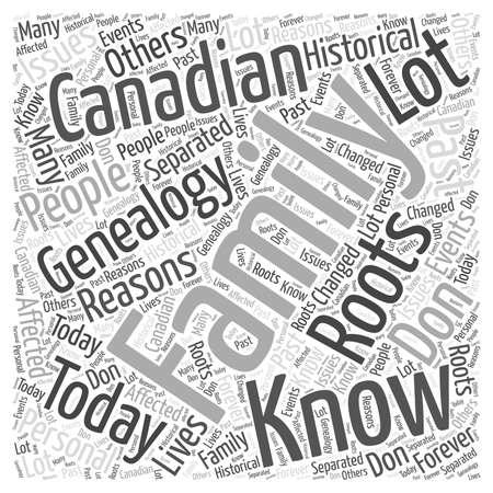 reasons: canadian genealogy Word Cloud Concept Illustration