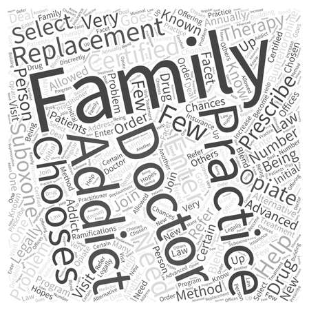 prescribed: Choosing family practice for replacement therapy Word Cloud Concept Illustration