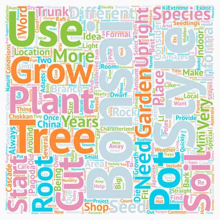 Bonsai Trees Plants and Shops text background wordcloud concept Illustration