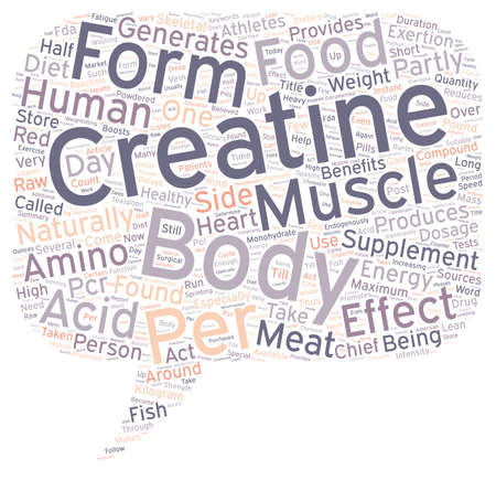 Creatine text background wordcloud concept Illustration