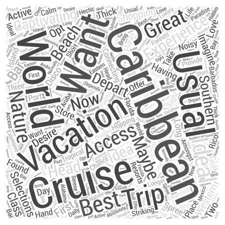 caribbean cruise Word Cloud Concept Ilustração