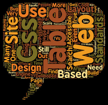 CSS and Tables The hype and the trends text background wordcloud concept
