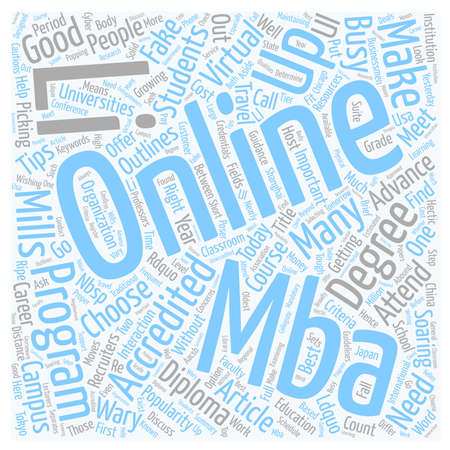 Do Online MBAs Make the Grade text background wordcloud concept
