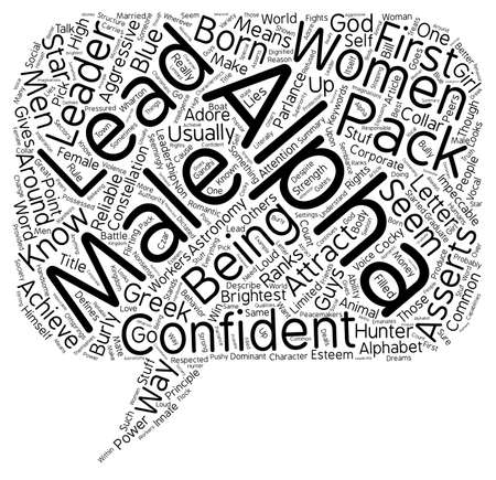 parlance: Do Women Like Alpha Males text background wordcloud concept Illustration