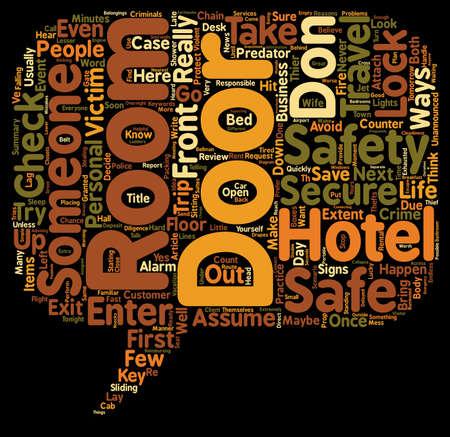 テキストの背景の wordcloud 概念はドン T と仮定するある A 安全と安全なホテルの部屋  イラスト・ベクター素材