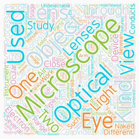 Different Types Of Microscopes text background wordcloud concept