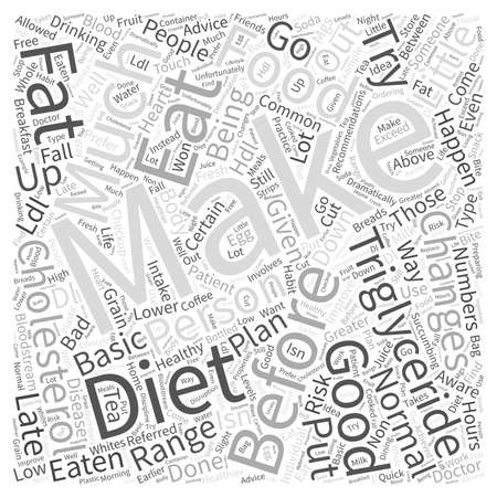 Diet to Lower Triglyceride and Cholesterol Word Cloud Concept Illustration