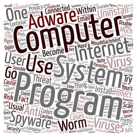Su desactivar parásitos wordcloud concepto de fondo de texto de ordenador s Ilustración de vector