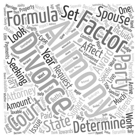 Divorce and Alimony Formula text background wordcloud concept Illustration
