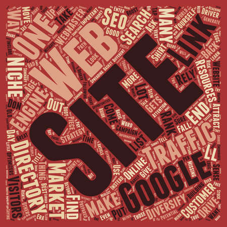Diversify Your Traffic Web Directories Niche Sites text background wordcloud concept