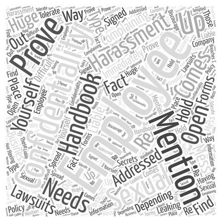 lawsuits: employee handbook Word Cloud Concept