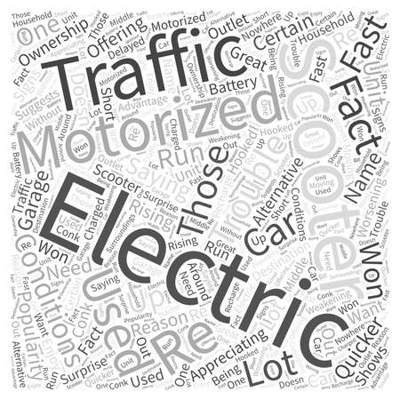 electric motorized scooter Word Cloud Concept