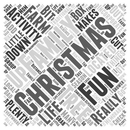 Diversión familiar Actividades de Navidad Word Cloud Concept Ilustración de vector