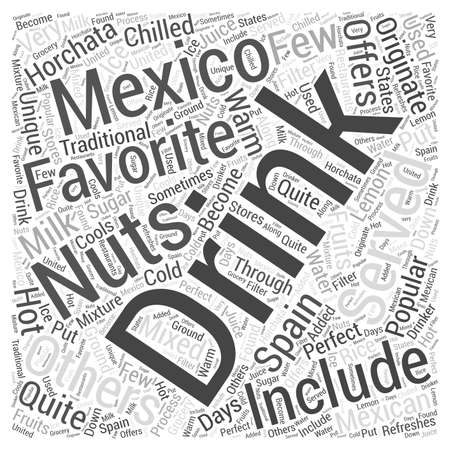 Favorite Drinks of Mexico Word Cloud Concept Illustration