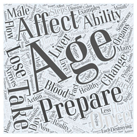 Examples in How the Body Senescence in Healthy Aging Word Cloud Concept 向量圖像