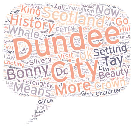 dun: Dundee History And Guide text background wordcloud concept Illustration