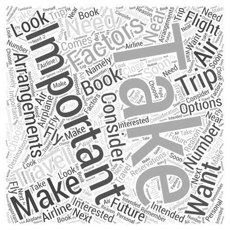 Factors to Consider When Making Air Travel Arrangements Word Cloud Concept