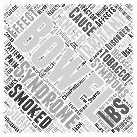 bowel disorder: effects of smoking on irritable bowel syndrome Word Cloud Concept Illustration