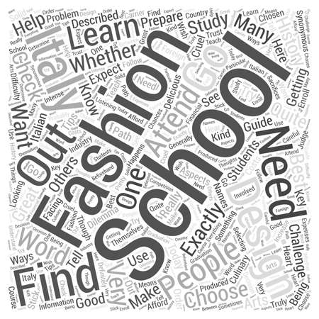 fashion design: fashion design school italy Word Cloud Concept Illustration