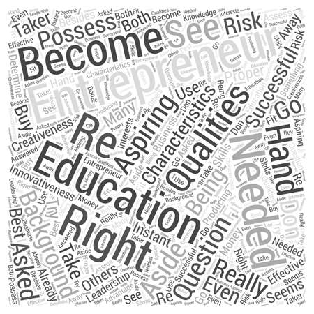 education needed to be an entrepreneur Word Cloud Concept Vettoriali