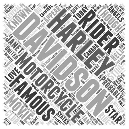 Famous Harley Davidson Riders Word Cloud Concept Illustration