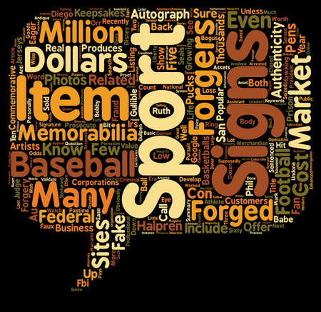 Forged Sports Memorabilia text background wordcloud concept Illustration