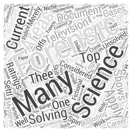 thee: Forensic Science The Many Sciences Applied To Crime Solving Word Cloud Concept