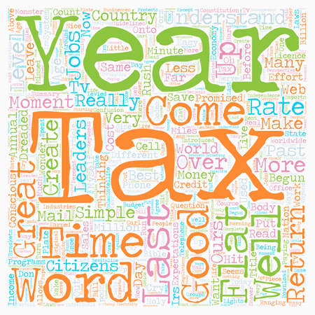 Flat Tax It Could Work text background wordcloud concept