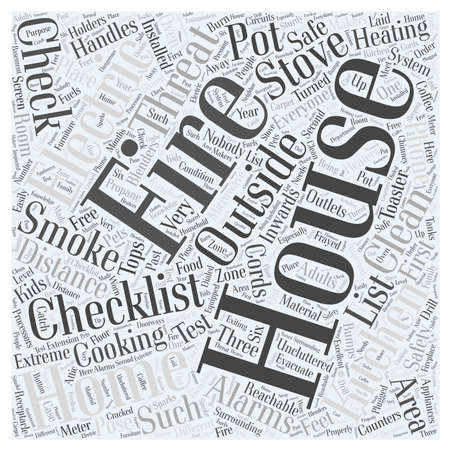 uncluttered: Fire Safety Checklist for Home Word Cloud Concept Illustration