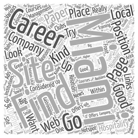 reasons: Finding Hospitality Management Careers In Miami Word Cloud Concept Illustration