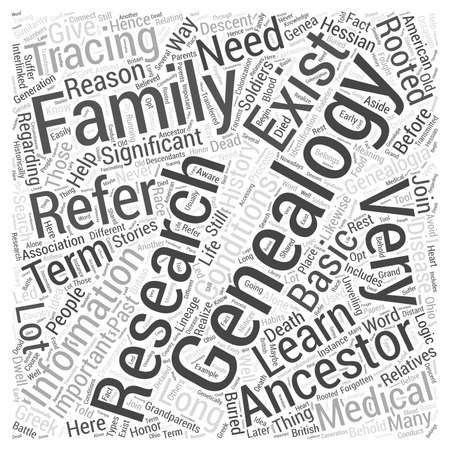 genealogy: genealogy research Word Cloud Concept