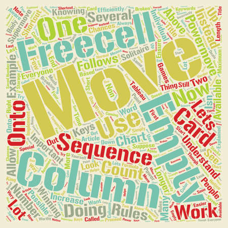 Freecell Solitaire Power Moves Explained text background wordcloud concept