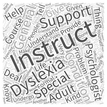Algemene aanwijzingen voor volwassenen met dyslexie Word Cloud Concept Stock Illustratie