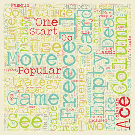 Freecell Solitaire Strategy Guide text background wordcloud concept