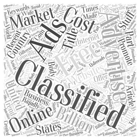 Free classifieds Using them to promote your stuff online Word Cloud Concept Illustration