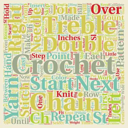 free crochet pattern text background wordcloud concept
