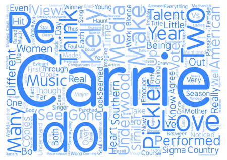 misconception: Carrie Underwood Vs Kellie Pickler Word Cloud Concept Text Background Stock Photo