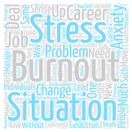 Burnout Move On And Rise Up text background word cloud concept Stock Photo