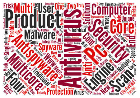 integrates: A new unique MultiCore AntiVirus AntiSpyware product text background wordcloud concept Stock Photo