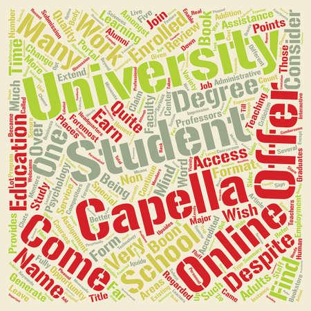 Capella University an honest review text background word cloud concept
