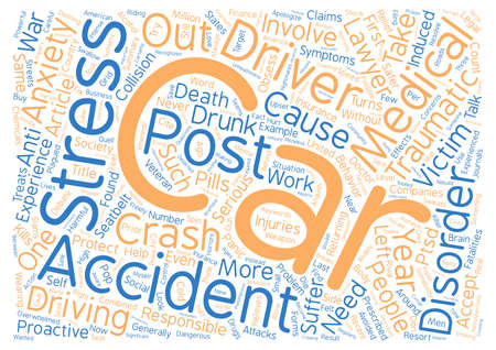generalized: Car Accident Article Car Accidents Post Traumatic Stress Disorder text background word cloud concept Stock Photo