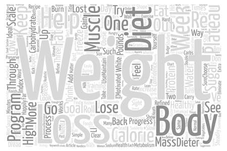 steadily: Bust Through the Weight Loss Plateau text background wordcloud concept