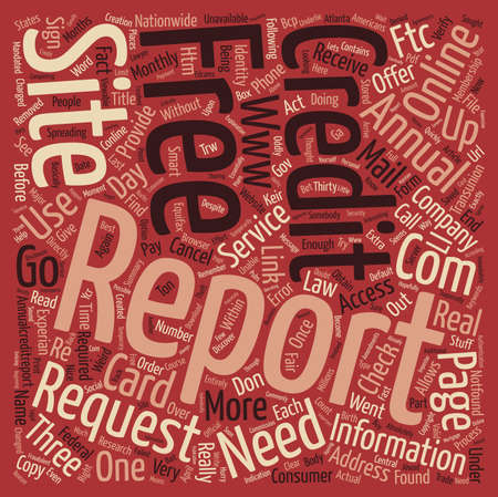 A Credit Card Required for a Free Credit Report text background wordcloud concept Stock Photo